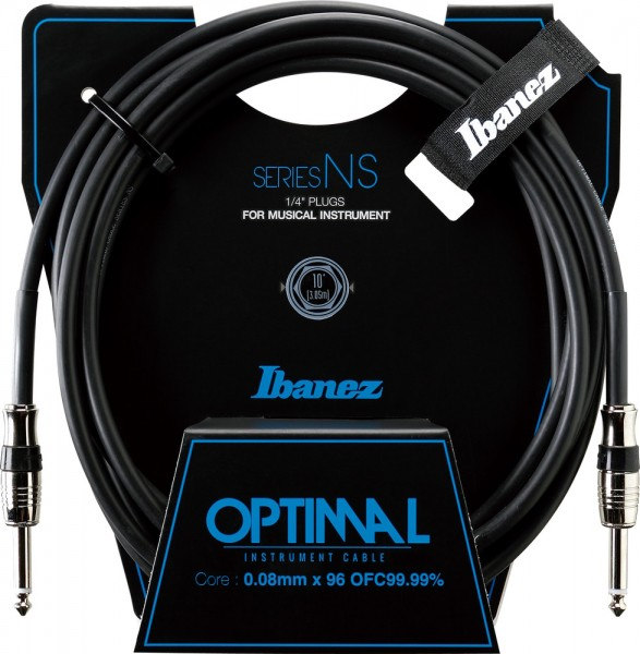 IBANEZ NS Series Guitar instrument cable - Straight / Straight - male - male, black - 3,05 m / 10 ft (NS10)