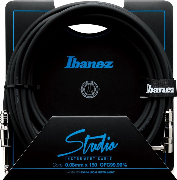 IBANEZ Guitar instrument cable - HF Series - Straight / Right Angle - male - male, Black - 6,10 m / 20 ft (HF20L)