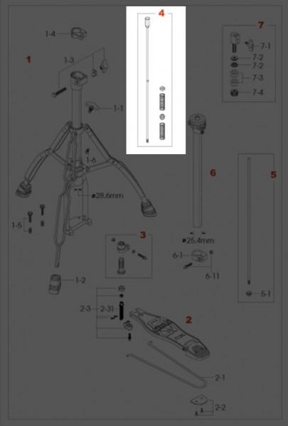 TAMA untere Zugstange für HiHat Maschine - HH75W (HH75W-4)