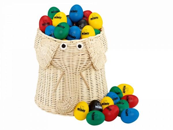 NINO Percussion Egg Shaker Assortment - Elephant shaped basket (VE80-NINO540)