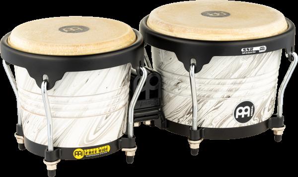 "MEINL Percussion Wood Bongo - White Marble 6 3/4"" MACHO & 8"" HEMBRA (FWB190WHM)"