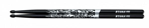 TAMA Rhythmic Fire Drumsticks - 5A-F-BS - Black, Silver Pattern (TAMA-O5A-F-BS)