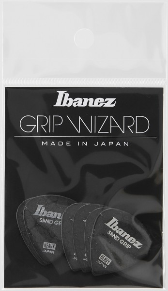 IBANEZ Grip Wizard Series Sand Grip Flat Pick Crack Model - black 6 pcs. (PPA16HCG-BK)