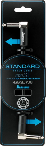 IBANEZ SI Series (Standard) Guitar Instrument Cable - - Right Angle / Reversed Right Angle Patch Cable - Male - Male, Black - 0,12 m / 0,4 ft (SI04PR)