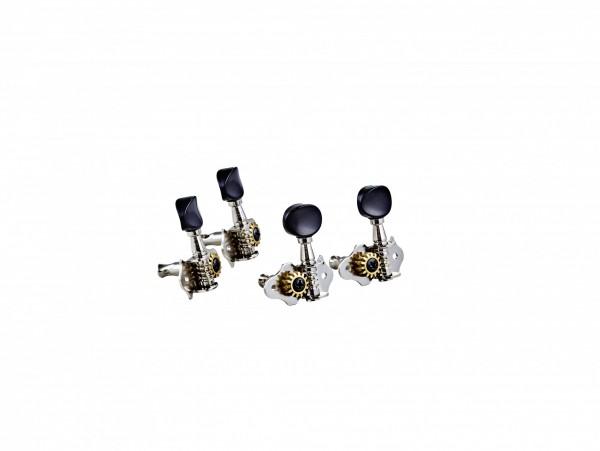 ORTEGA Ukulele Stimmmechaniken-Set, open gear, schwarze ABS Knöpfe - Nickel (OTMUKOG-CR)