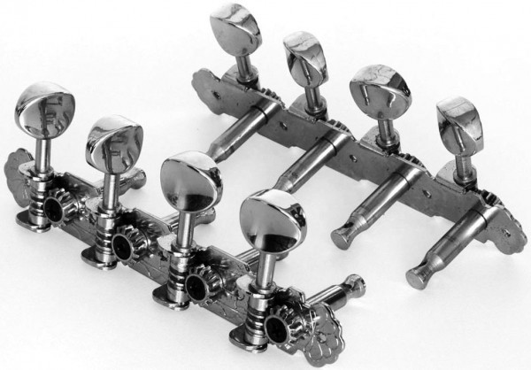 Tuner Set Mandoline Chrome Length 11,6cm, Distance between pegs 26mm - chrom (OER-20130)