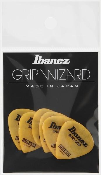 IBANEZ Grip Wizard Series Sand Grip Flat Pick Crack Model - yellow 6 pcs. (PPA16XCG-YE)