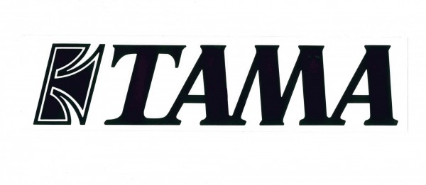 TAMA Aufkleber schwarz auf weißem Hintergrund - 24,5 cm x 6 cm (TLS100BK)