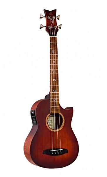 ORTEGA Ken Taylor Signature Series Shortscale Bass 4 String mit Fishman Presys+ System XLR Out - Massive Fichte / geflammtes Mahagoni Distressed incl. Gigabg (KT-WALKER-V2)