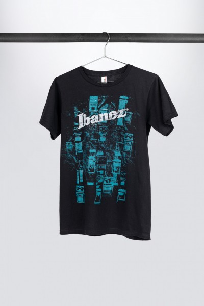 """Black Ibanez t-shirt with cyan """"Effects"""" frontprint (IT11PEDBK)"""
