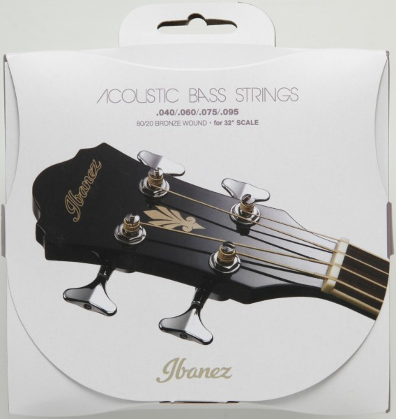 """IBANEZ String Set for 4 String Acoustic Bass 32"""" Scale - .040/.060/.075/.095 Carbon-Coated 80/20 Bronze (IABS4C32)"""