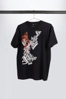 """IBANEZ T-Shirt in schwarz mit mehrfarbigem """"Warning"""" Frontprint (IT108)"""