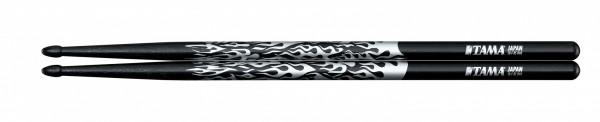 TAMA Rhythmic Fire Drumsticks - 5B-F-BS - Black, Silver Pattern (TAMA-O5B-F-BS)