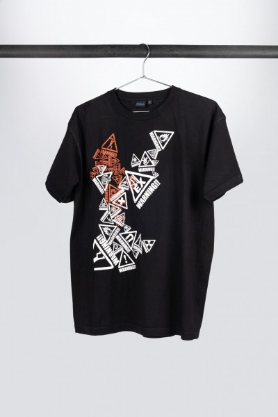 """Black Ibanez t-shirt with multicolored """"Warning"""" frontprint (IT108)"""